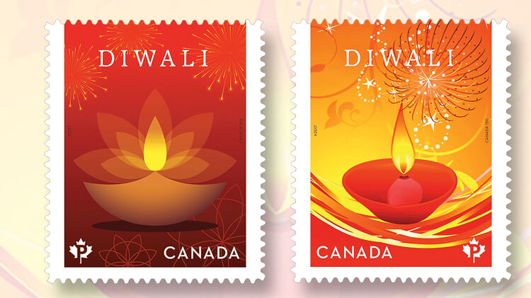 canada-diwali-joint-issue-stamps-diya-oil-lamps
