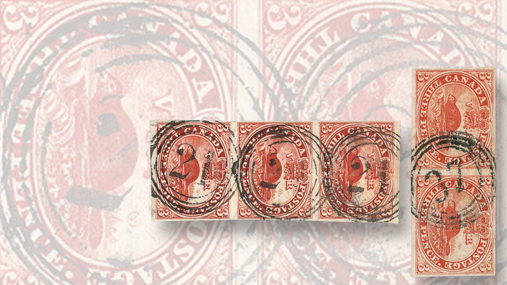 canada-four-ring-numeral-cancels-3-penny-beaver-strip-pair