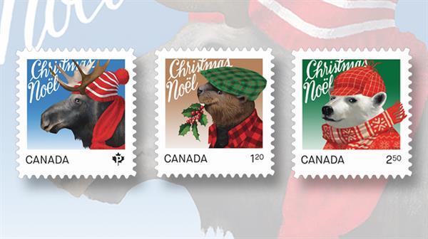 canada-post-christmas-stamps-moose-beaver-polar-bear-2015