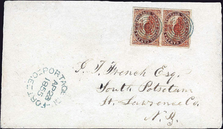 canada-seven-ring-target-cancel-1855-cover-3-penny-beaver-pair
