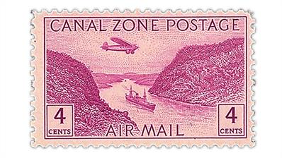 canal-zone-1949-monoplane-panama-canal-stamp