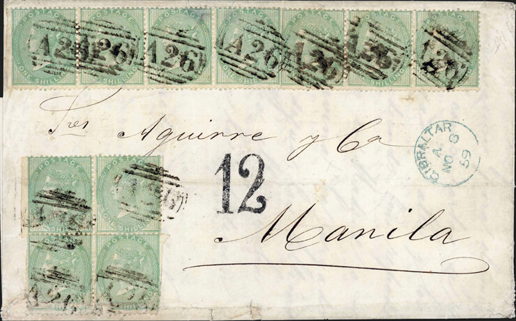 cavendish-1859-cover-gibraltar-spanish-philippines-queen-victoria-stamps