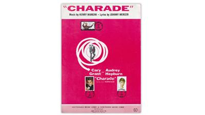 charade-movie-sheet-music-first-day-cancels-grant-hepburn-mancini-stamps