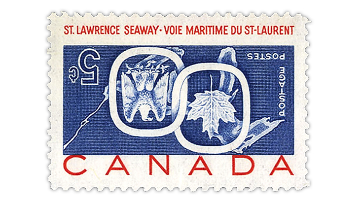 cherrystone-auction-1959-canada-st-lawrence-seaway-invert-error-stamp