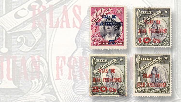 chile-islas-de-juan-fernandez-overprint-stamps