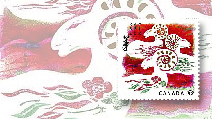 the design of canadas domestic rate year of the ram stamp represents a chinese word that means three sheep make happiness this stamp placed second in a - Chinese New Year 1980