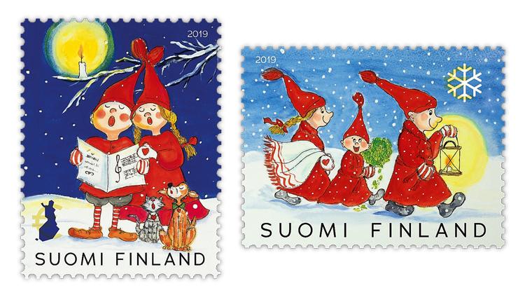 christmas-stamps-finland-elves-caroling-candlelight-lantern