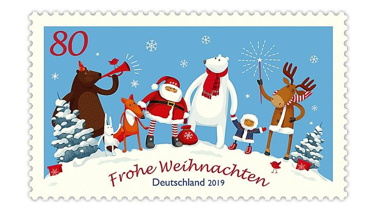 christmas-stamps-germany-elk-sparkler-santa-claus