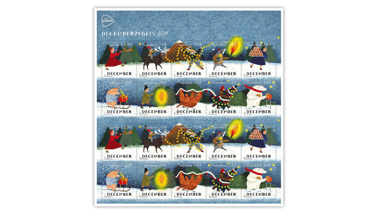 christmas-stamps-netherlands-parade-torch-lantern