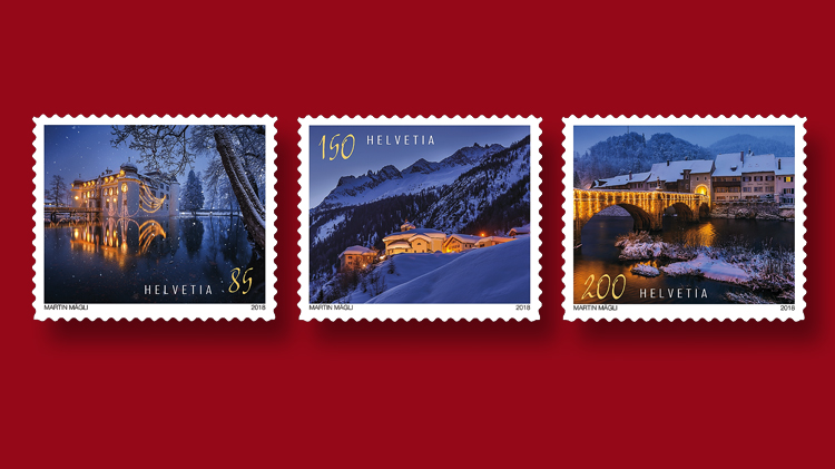 Christmas stamps Swiss Post dusk