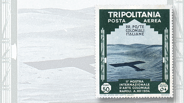 classic-stamps-tripolitania-1934-airmail-airplane-shadow