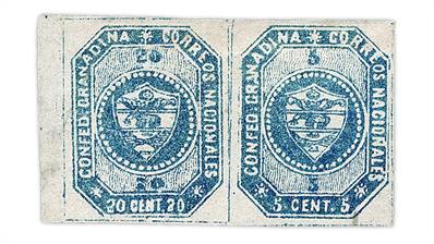 colombia-1859-se-tenant-20-centavo-5-centavo-stamp-pair