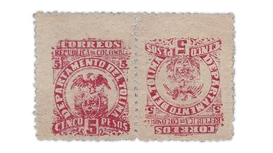 colombia-tolima-1903-5-peso-departmental-crest-tete-beche-pair