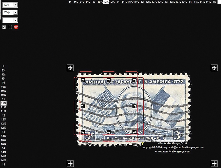 Two computer programs that can measure stamp perforations