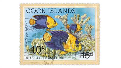 cook-islands-surcharged-black-gold-angelfish-stamp