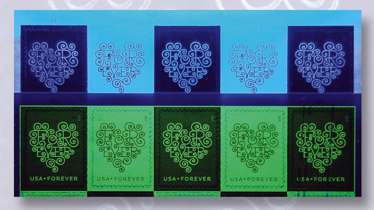 counterfeit-genuine-2015-love-stamps-uv-light