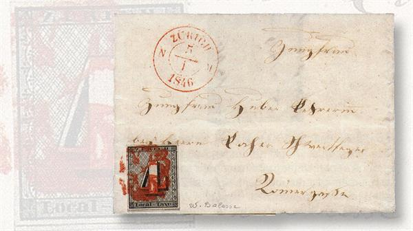 cover-four-rappen-zurich-cantonal-stamp