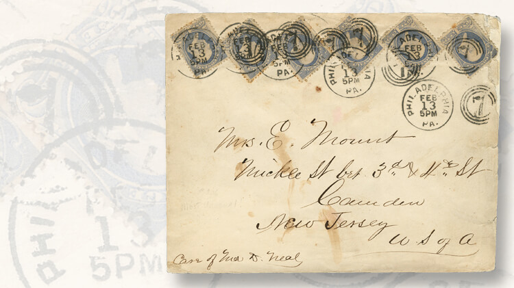 cover-six-one-cent-franklin-stamps