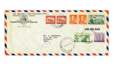 Cover to Iraq sent by stamp collector and actor Yul Brynner