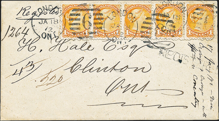 cover-with-strip-five-yellow-orange-small-queen-stamps