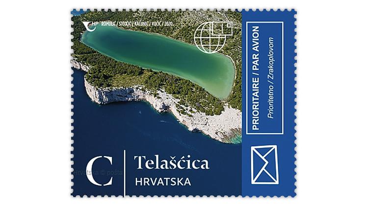 croatia-2020-natural-beauties-lake-mir-telascica-nature-park-stamp