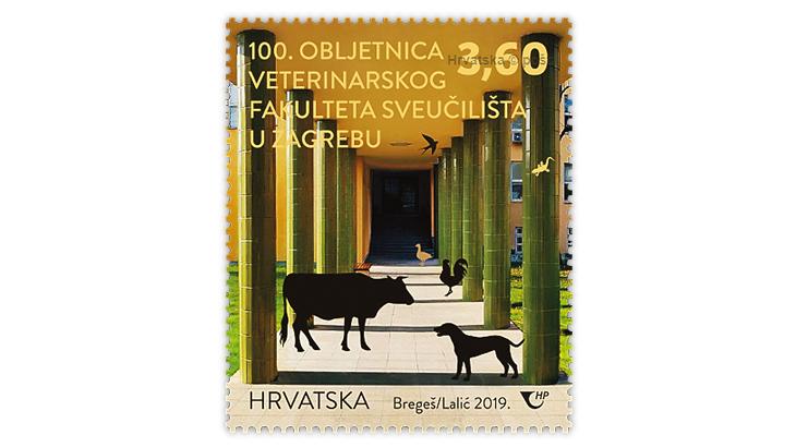 croatia-university-zagreb-cow-stamp