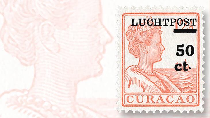 curacao-queen-wilhelmina-luchtpost-overprint-stamp