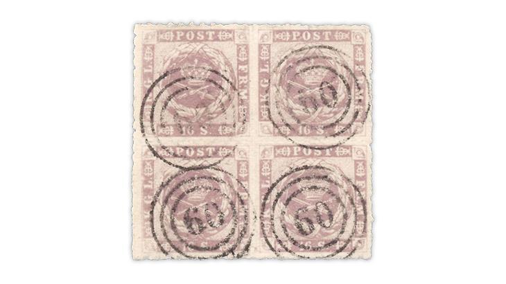 denmark-1863-16-skilling-block-largest-known-used-multiple