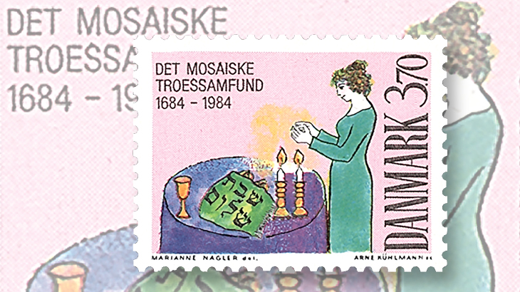 denmark-300th-anniversary-jewish-community-copenhagen-stamp-1984