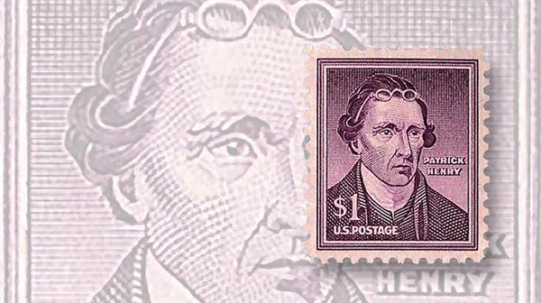 dollar-sign-stamps-1955-dollar1-patrick-henry-wet-printing