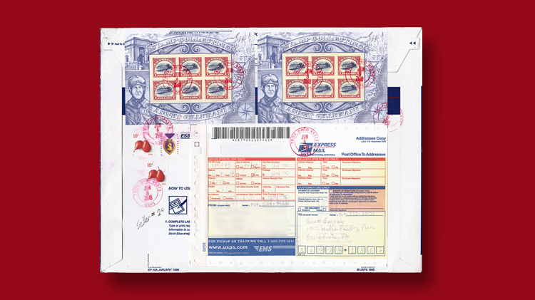 dollar-sign-stamps-express-mail-flat