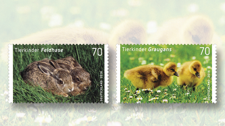 easter-greeting-stamps-2016-germany-hares-goslings