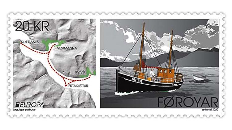 faroe-islands-2020-europa-olavur-mail-boat-stamp