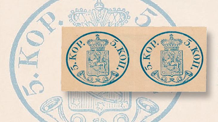 finland-1856-first-issue-pair-small-pearls-post-horns-postiljonen-auction