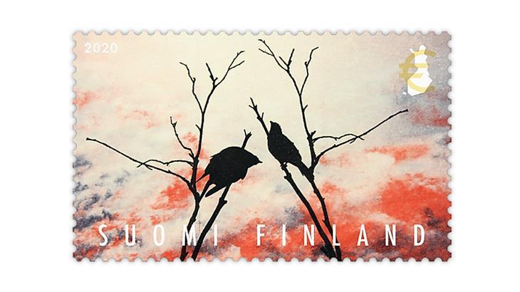 finland-2020-duet-birds-sunset-stamp