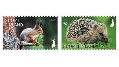 finland-2020-norden-mammals-hedgehog-squirrel-stamps