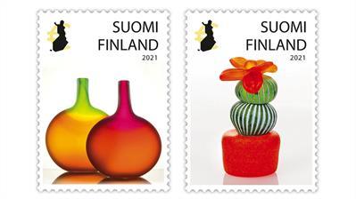 finland-2021-alma-jantunen-glass-sculptures-stamps