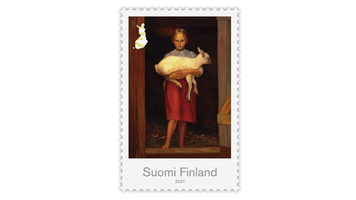 finland-2021-sheep-girl-hugo-simberg-painting-stamp
