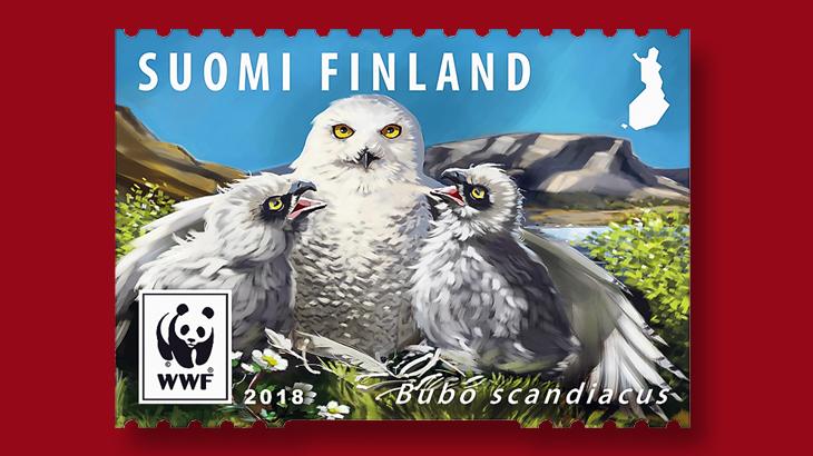 finland-female-snowy-owl-world-wildlife-fund-stamp