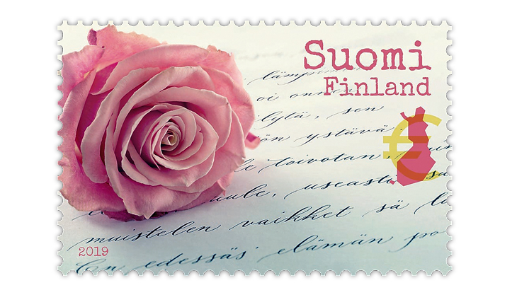finland-pink-rose-letter-greeting-stamp