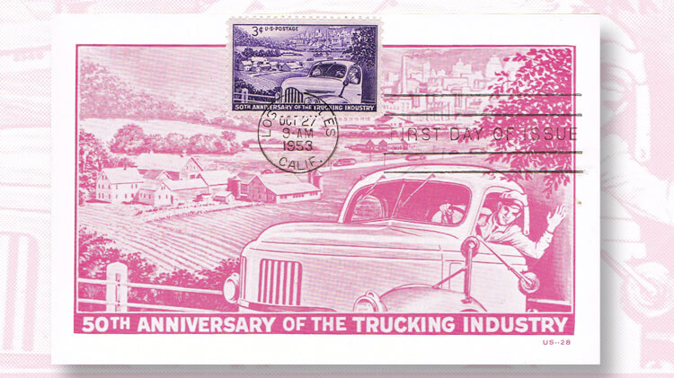 first-day-postcard-trucking-industry-stamp