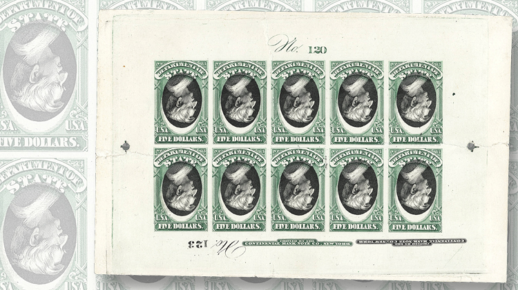 five-cent-state-department-officia-10-green-and-black-stamps-inverted