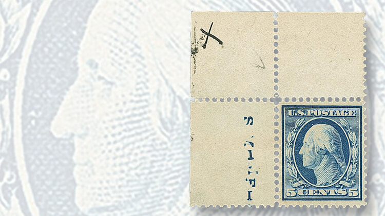 five-cent-washington-franklin-bluish-paper-stamp-with-x