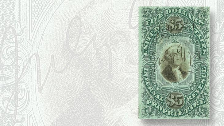 five-dollar-proprietary-stamp-green-paper