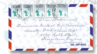 five-five-cent-guyana-revenue-stamps-airmail-cover