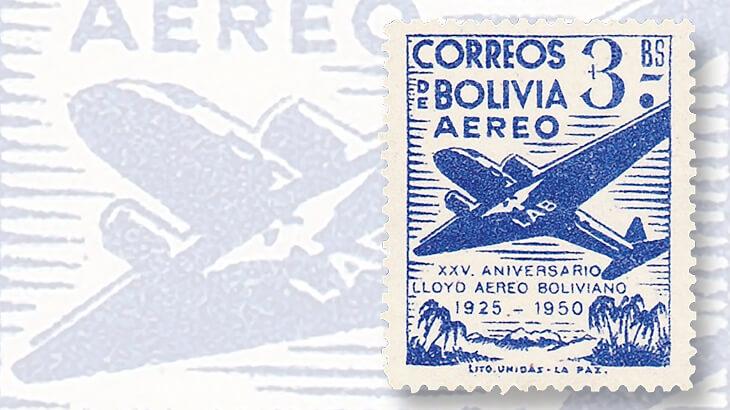 flyspeck-variety-bolivia-1950-airmail-set