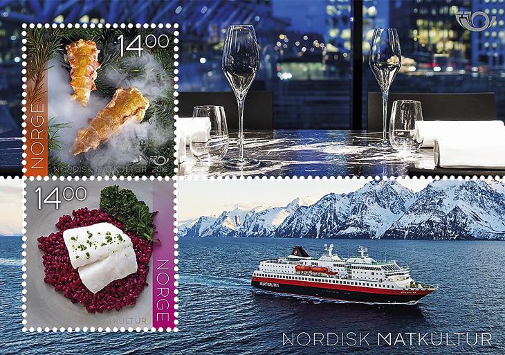 food-cultures-stamps-norway-souvenir-sheet-maaemo-oslo--hurtigruten-ship