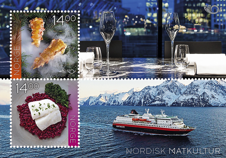 food-cultures-stamps-norway-souvenir-sheet-maaemo-oslo--hurtigruten-ship