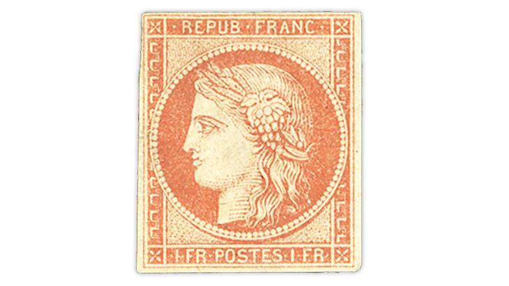 france-1849-1-franc-dull-orange-red-ceres-stamp