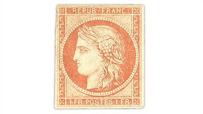 france-1849-1-franc-dull-orange-red-ceres-stamp